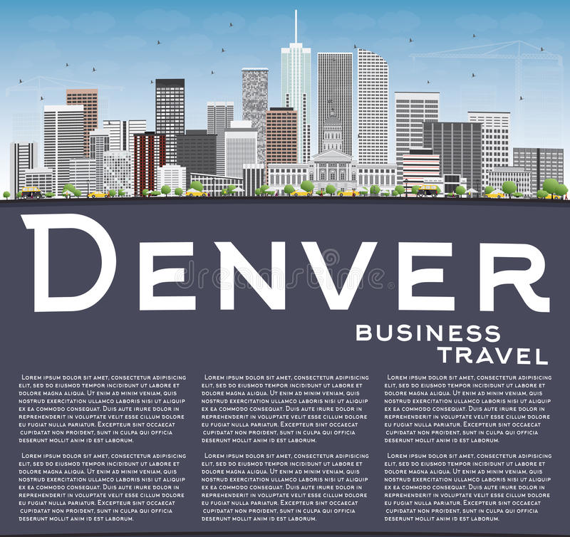 Denver Skyline med Gray Buildings, blå himmel och kopieringsutrymme vektor illustrationer