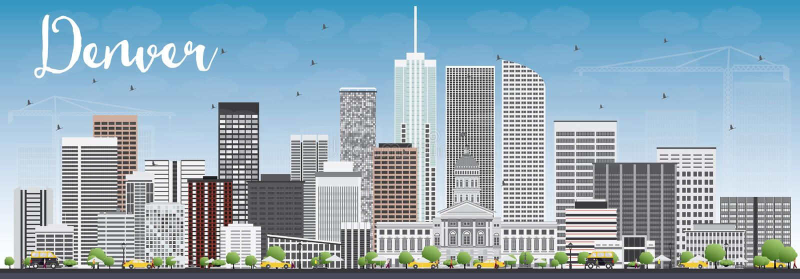 Denver Skyline med Gray Buildings och blå himmel stock illustrationer