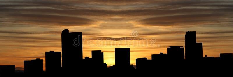 denver skyline słońca ilustracji