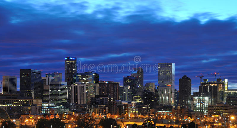Denver Skyline sunrise with clouds royalty free stock photo