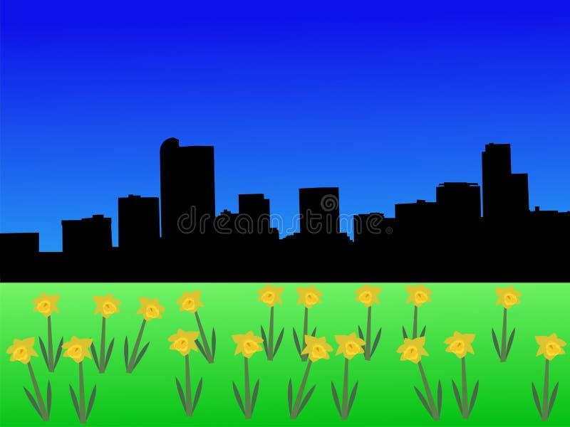 denver skyline wiosna ilustracja wektor