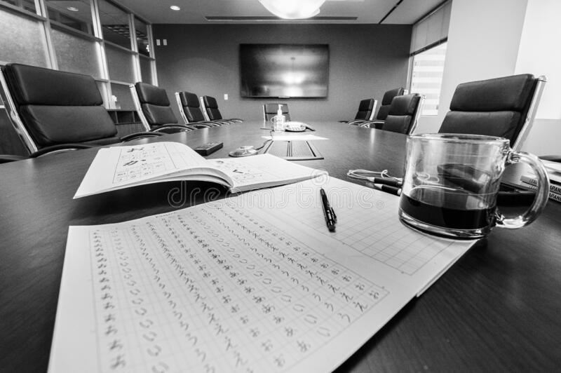 DENVER, UNITED STATES - Apr 05, 2020: Business Isolation. DENVER, UNITED STATES - Apr 05, 2020: Empty conference room during COVID-19 isolation and government stock image