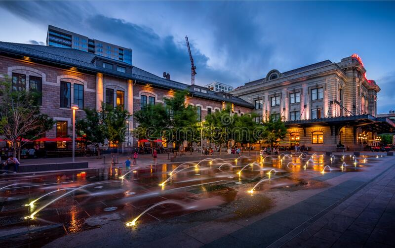 DENVER, UNITED STATES - May 28, 2018: Family fun downtown. DENVER, UNITED STATES - May 28, 2018: Families having a nice night out at Union Station in downtown royalty free stock photos