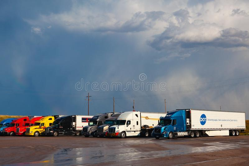 Love`s gas station after heavy storm.Denver,USA stock images