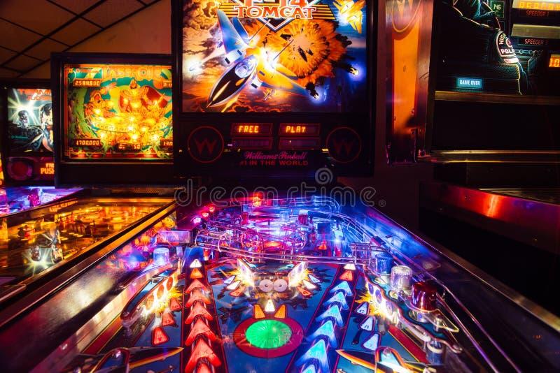 Denver, usa - Wrzesień 12, 2017: Szczegół Pinball arkada G fotografia royalty free