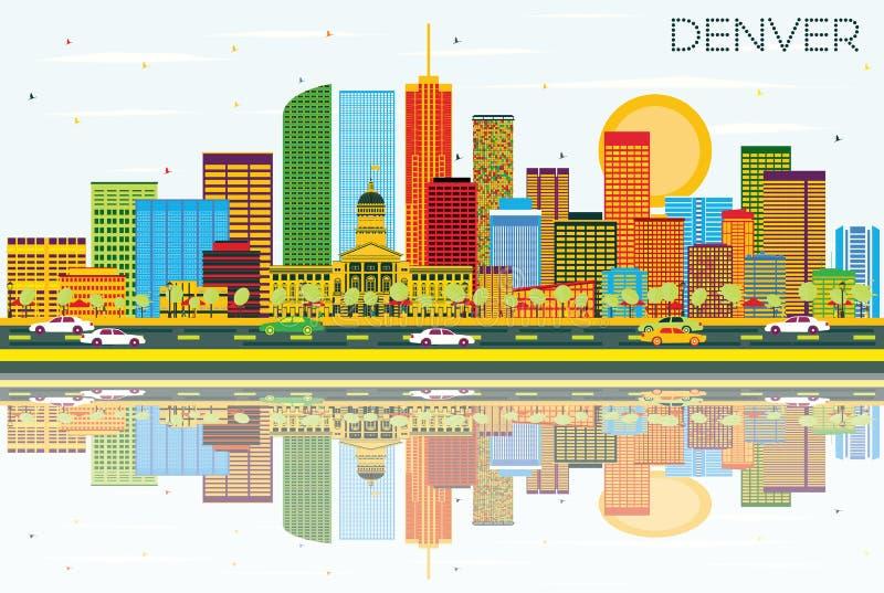 Denwerska linia horyzontu z budynkami, niebieskim niebem i odbiciami koloru, royalty ilustracja