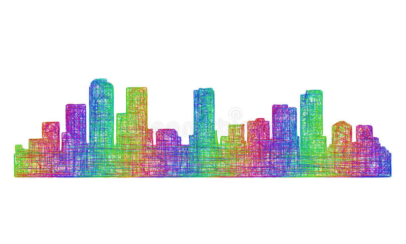 Denwerska linii horyzontu sylwetka - multicolor kreskowa sztuka ilustracja wektor