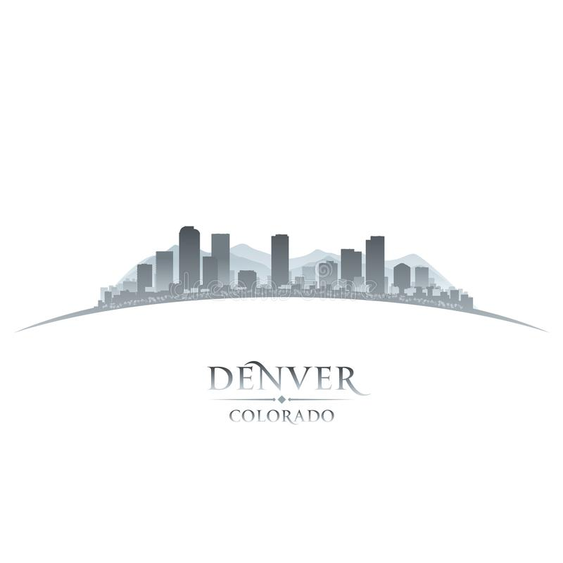 Denwerski Kolorado miasta linii horyzontu sylwetki bielu tło ilustracji