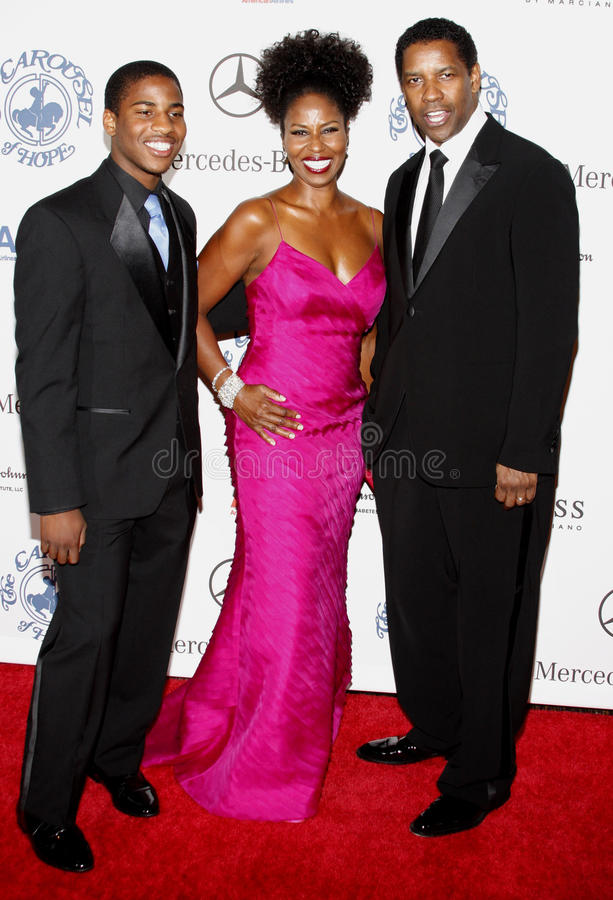 Denzel Washington, Pauletta Washington y Malcolm Washington imagenes de archivo