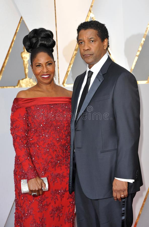 Denzel Washington y Pauletta Washington fotos de archivo