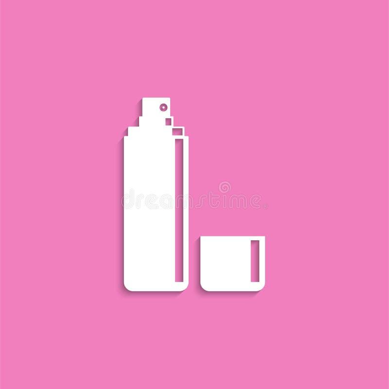 deodorant косметические детали зацепляет икону Белое изображение на розовой предпосылке с тенью иллюстрация вектора