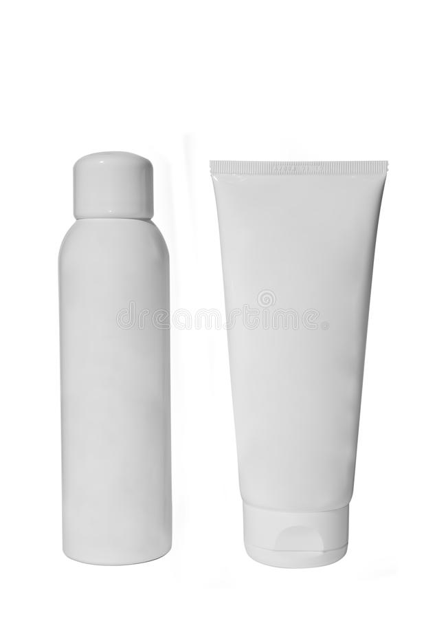 Deodorant and cream tube stock photos