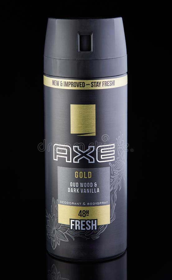 Deodorant for men on a black background with reflection stock image