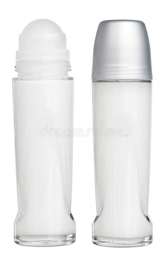 Deodorant roll on tubes isolated on white