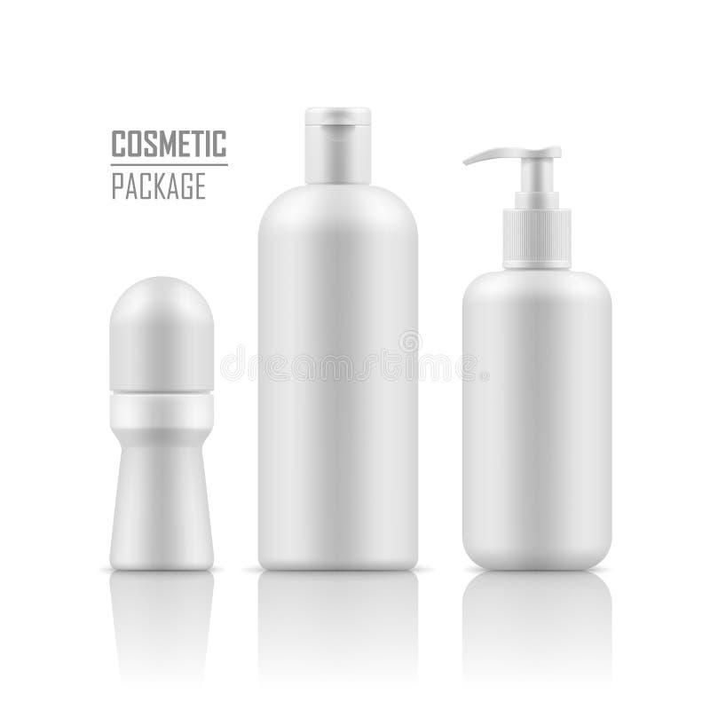 Deodorant, shampoo, lichaamscrèmefles stock illustratie