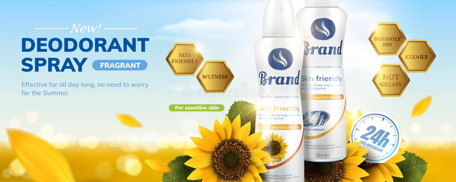 Deodorant spray ads. With sunflower fragrance on sparkling bokeh background in 3d illustration vector illustration