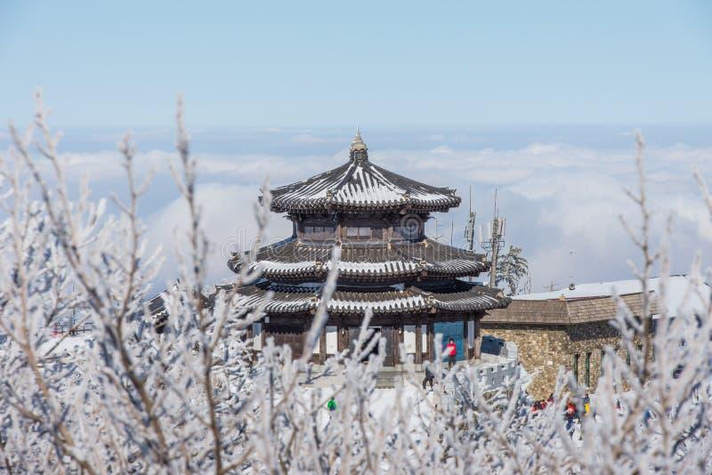 DEOGYUSAN, КОРЕЯ - 23-ЬЕ ЯНВАРЯ: Взгляд курорта Deogyusan в зиме стоковая фотография rf