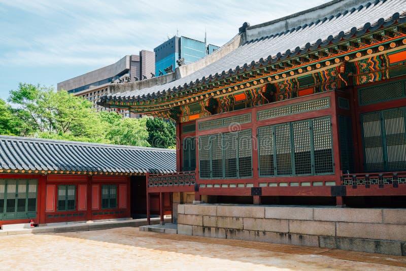 Deoksugung宫殿,韩国传统建筑学在汉城,韩国 库存照片
