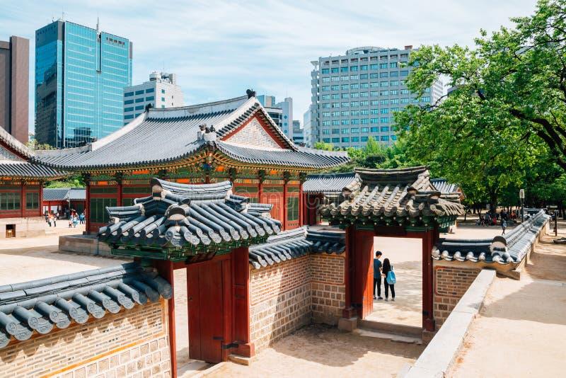 Deoksugung slott, koreansk traditionell arkitektur i Seoul, Korea arkivfoto