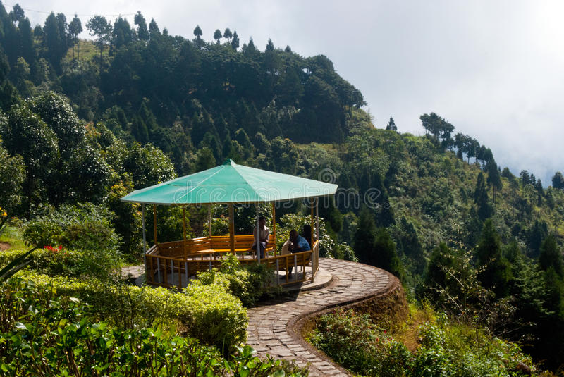 Deolo Hill view point. A breath taking landscape of Deolo park tourist view point, Kalimpong, Darjeeling, India on green backdrop and blue sky stock image