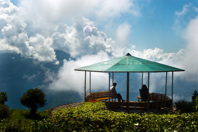 Deolo Hill view point. A breath taking landscape of Deolo park tourist view point, Kalimpong, Darjeeling, India on green backdrop and blue sky stock photography