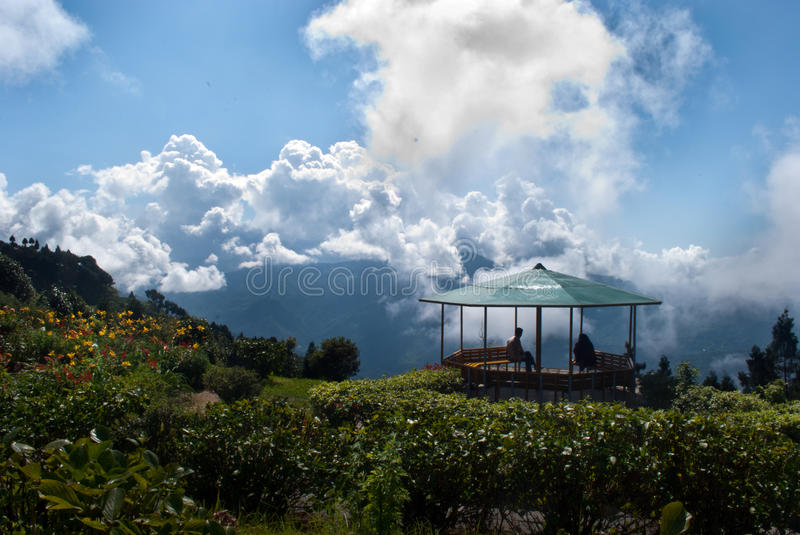 Deolo Hill view point. A breath taking landscape of Deolo park tourist view point, Kalimpong, Darjeeling, India on green backdrop and blue sky stock images