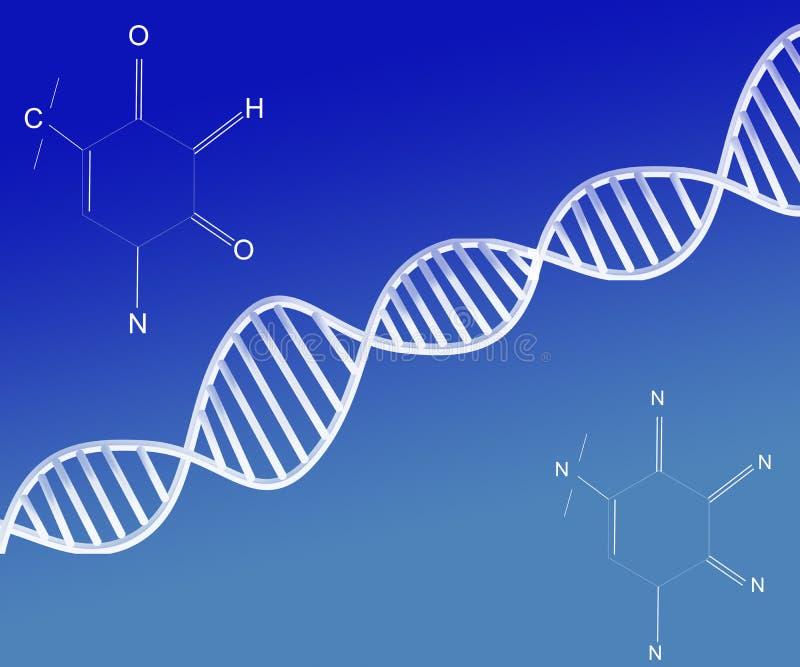 Deoxyribonucleic zure abstracte Structuur van DNA op Blauwe Achtergrond royalty-vrije illustratie