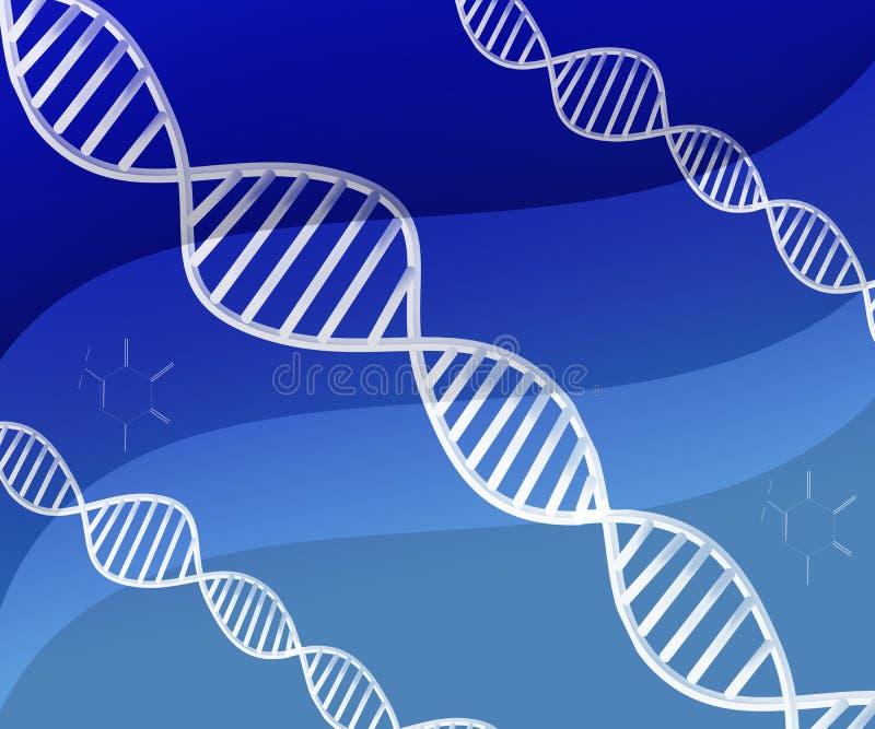 Deoxyribonucleic zure abstracte Structuur van DNA op Blauwe Achtergrond vector illustratie