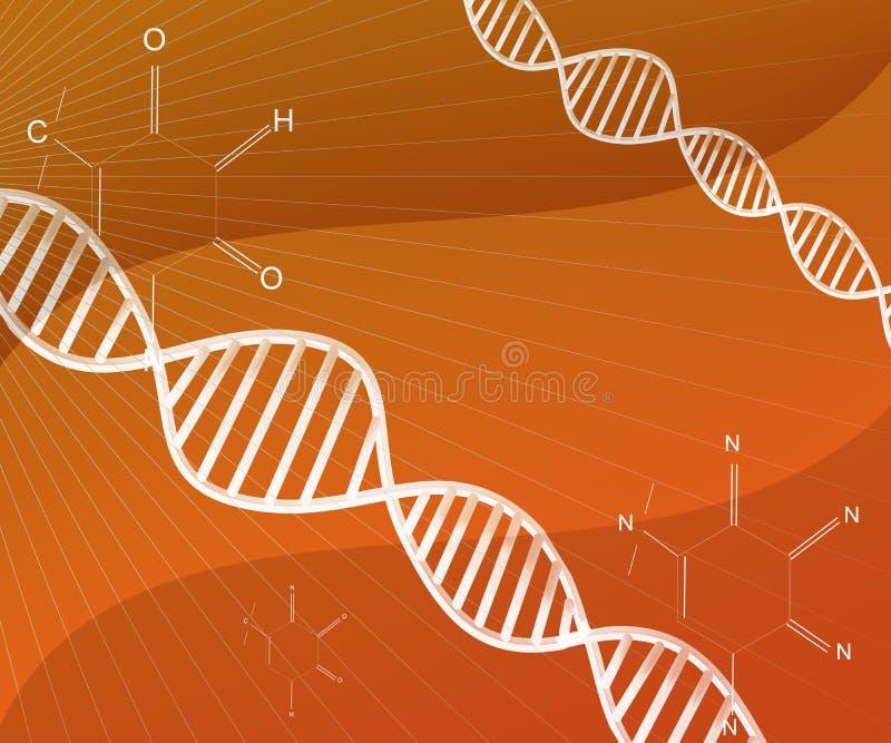 Deoxyribonucleic zure abstracte Structuur van DNA op Oranje Achtergrond vector illustratie