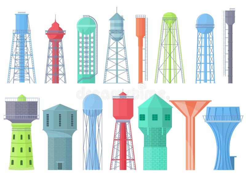 Depósito acuoso del recurso del almacenamiento del tanque del vector de la torre de agua y ejemplo industrial de la agua-torre de libre illustration