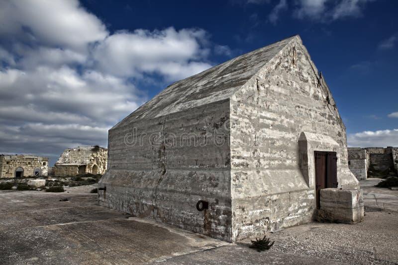 Depósito concreto no forte Ricasoli imagem de stock royalty free