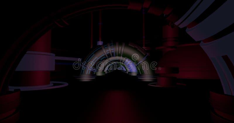 Depósito da ficção científica com arcos ilustração do vetor