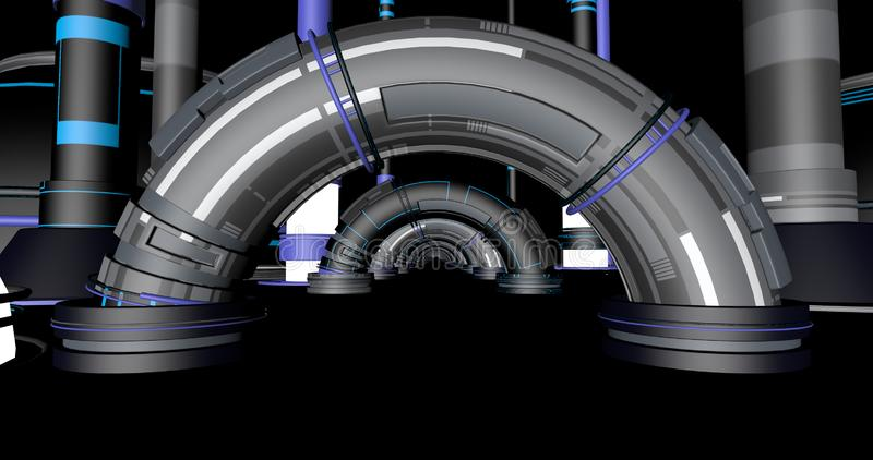 Depósito da ficção científica com arcos ilustração stock