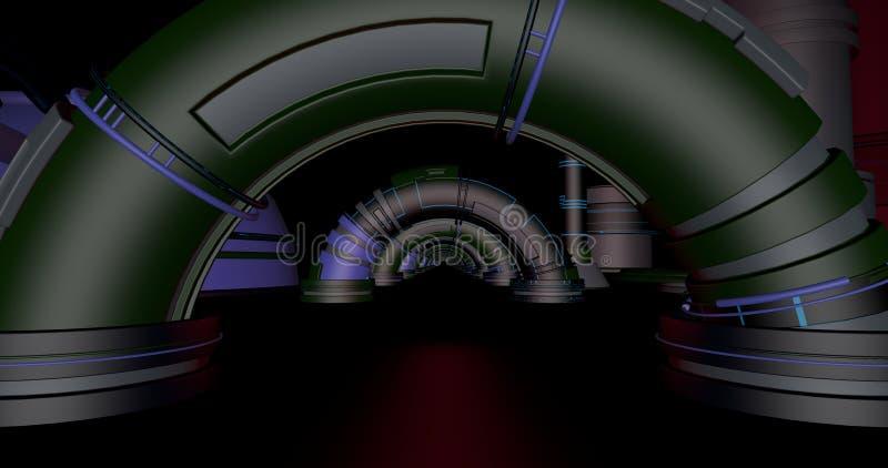 Depósito da ficção científica com arcos ilustração royalty free