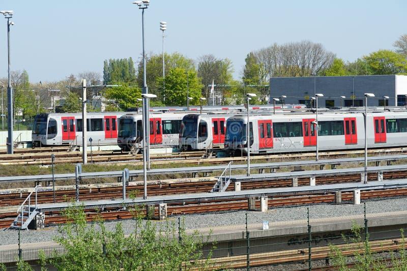 Dep?sito de la tranv?a y del metro en Rotterdam, los Pa?ses Bajos imagen de archivo libre de regalías