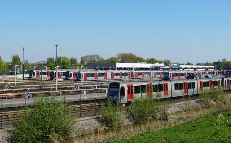 Dep?sito de la tranv?a y del metro en Rotterdam, los Pa?ses Bajos foto de archivo libre de regalías