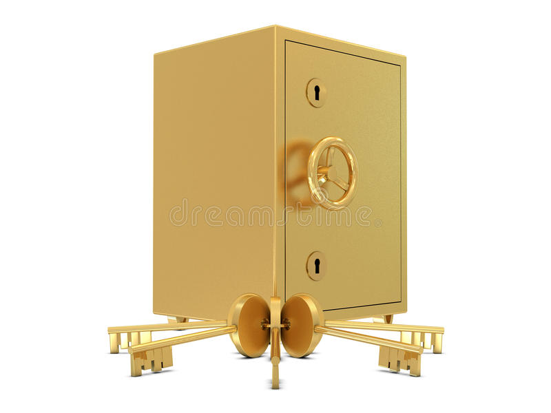 Depósito seguro e chaves dourados ilustração do vetor