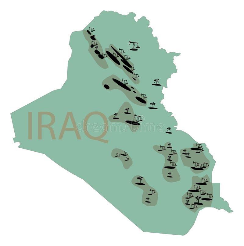 Depósitos del aceite en Iraq Mapa de Iraq con los depósitos del aceite Subsur imagenes de archivo