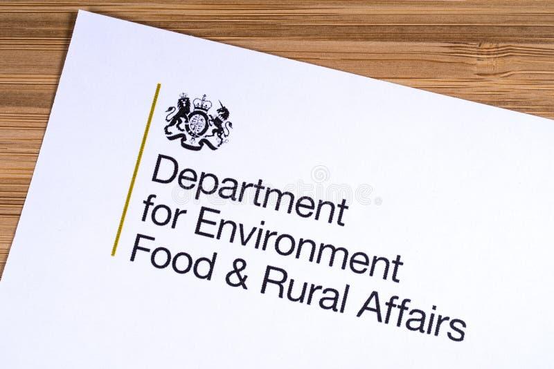 Departamento BRITÁNICO para la comida del ambiente y los asuntos rurales imágenes de archivo libres de regalías