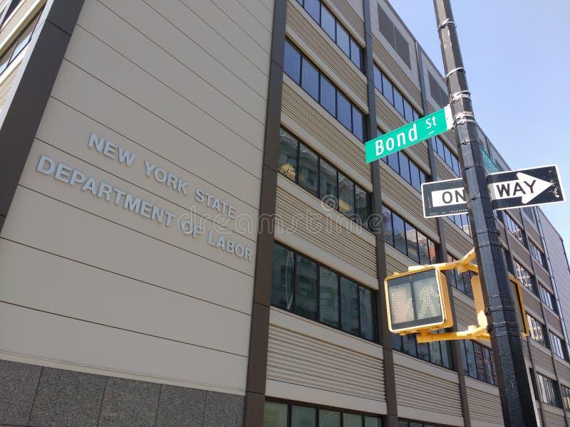 Departamento de Estado de Nueva York de trabajo, calle en enlace, Brooklyn, los E.E.U.U. foto de archivo libre de regalías