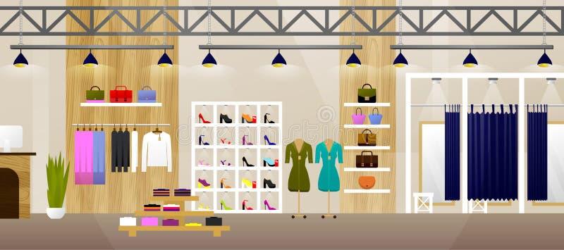 Departamento de la manera Tienda interior de la ropa Bandera con el espacio de la copia plano Ilustración del vector stock de ilustración