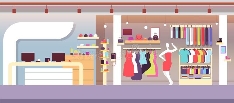 Departamento de la manera Tienda de la moda del boutique con los bolsos femeninos de la ropa y de las mujeres Interior del vector libre illustration