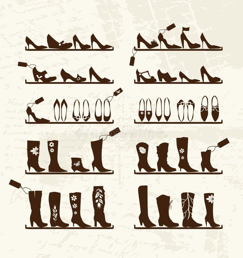 Departamento de zapatos, cargadores del programa inicial en los estantes, bosquejo ilustración del vector