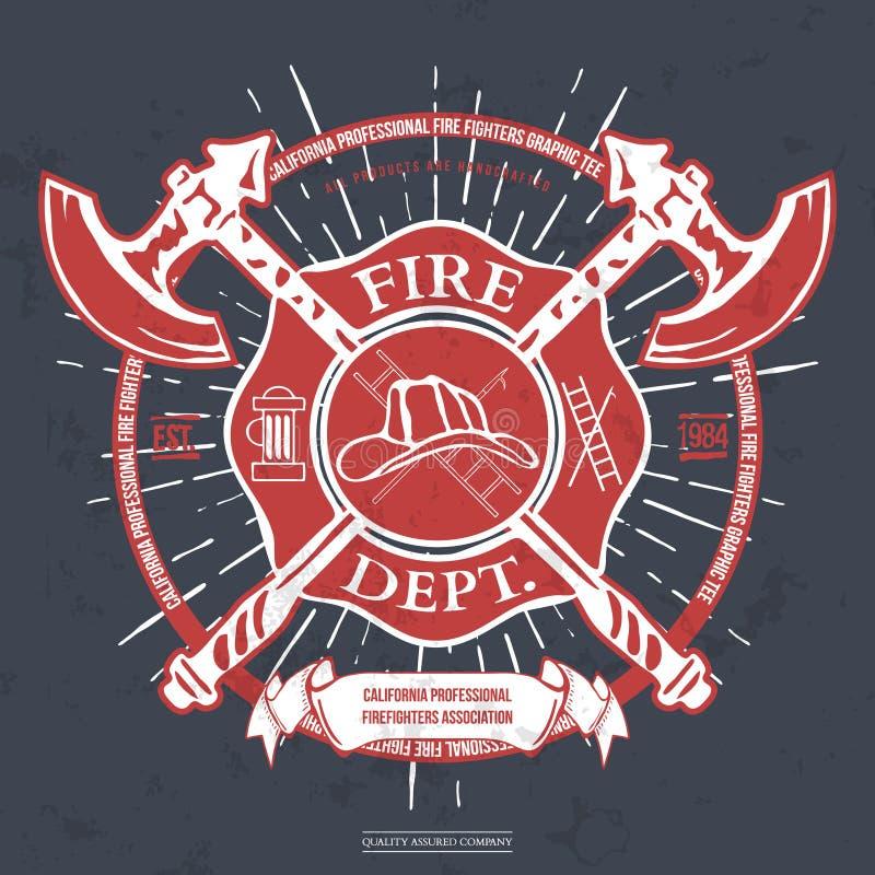Departamento del fuego label Casco con los gráficos cruzados de la camiseta de las hachas Vector libre illustration