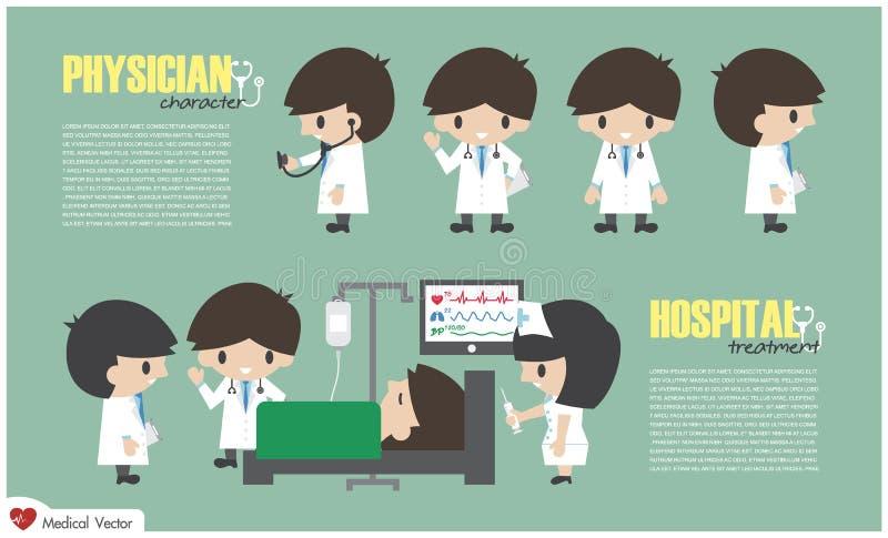 Departamento del personaje de dibujos animados del doctor y hospitalizado en hospital Vector Diseño plano libre illustration