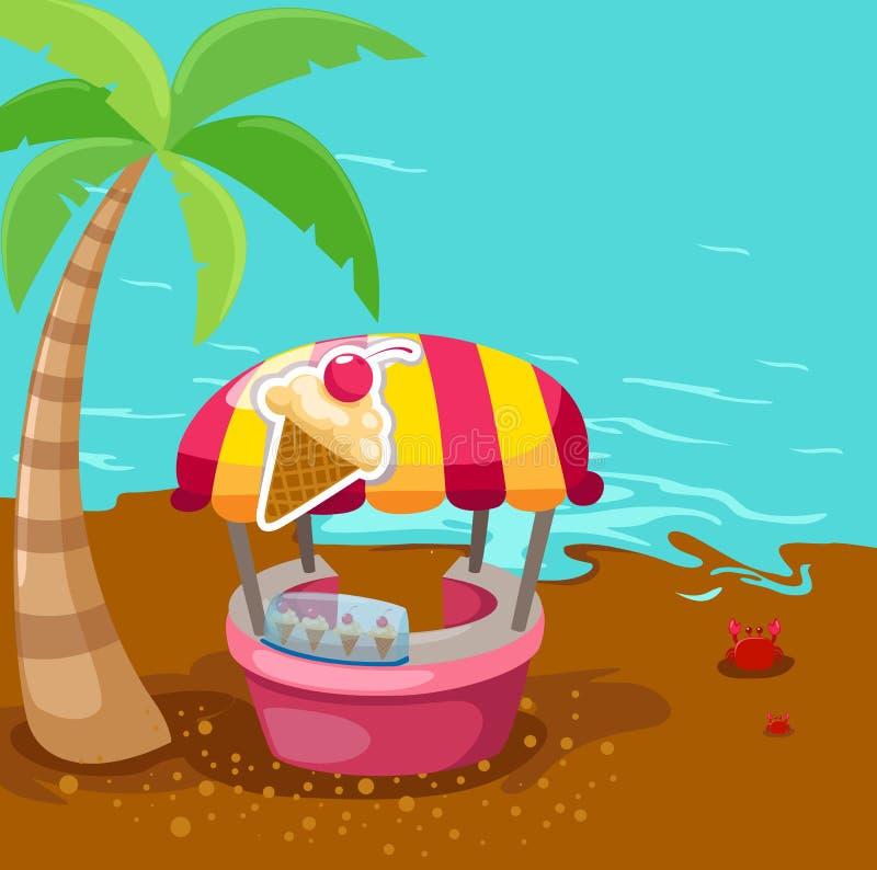 Departamento del soporte del helado en la playa stock de ilustración