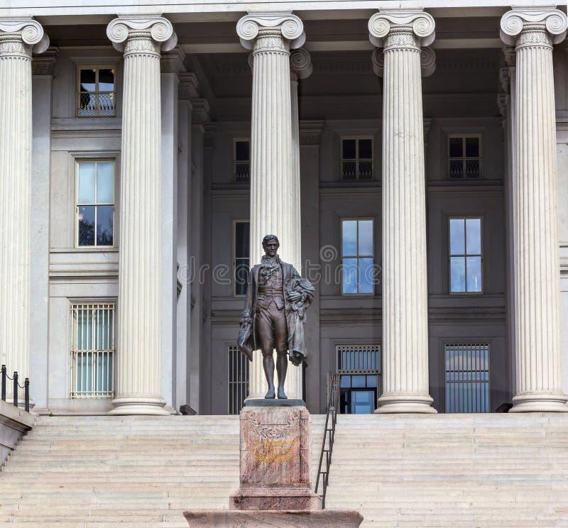 Departamento del Tesoro Alexander Hamilton Statue Washington DC de los E.E.U.U. foto de archivo libre de regalías