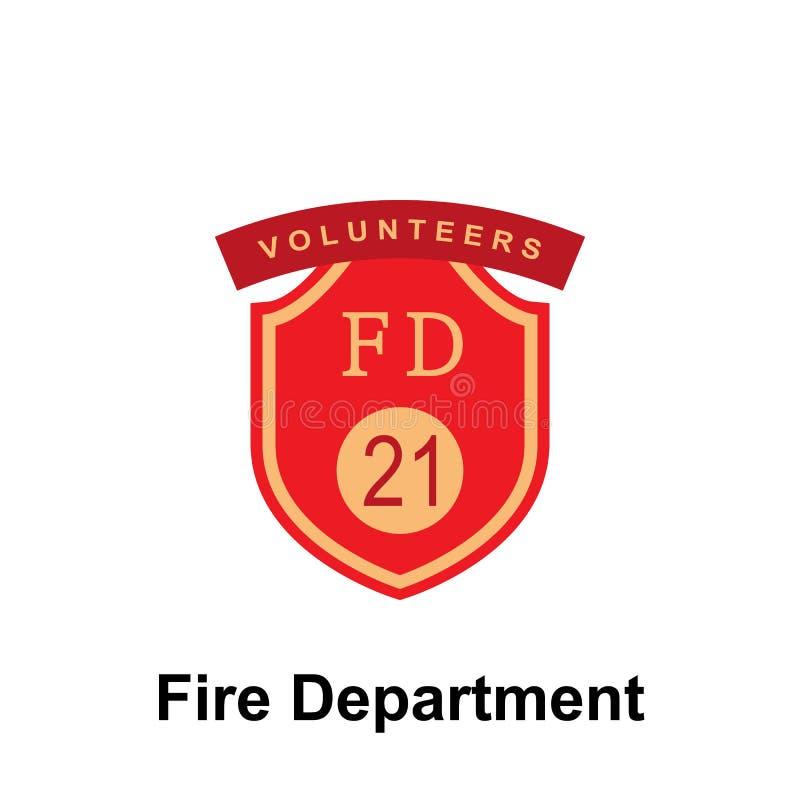 Departamento dos bombeiros, ícone do FD 21 Elemento do ícone do sinal do departamento dos bombeiros da cor Ícone superior do proj ilustração do vetor