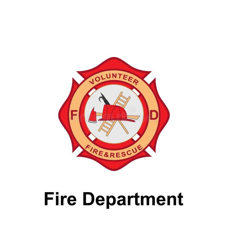 Departamento dos bombeiros, ícone voluntário Elemento do ícone do sinal do departamento dos bombeiros da cor Ícone superior do pr ilustração do vetor