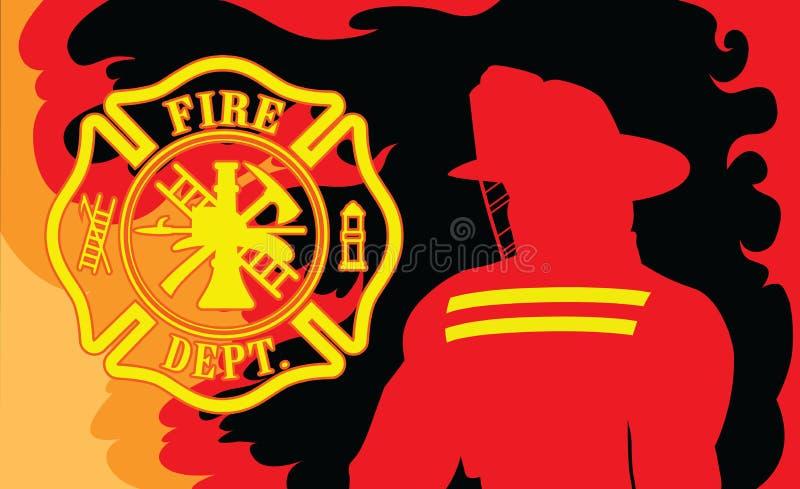 Departamento dos bombeiros com bombeiro ilustração royalty free